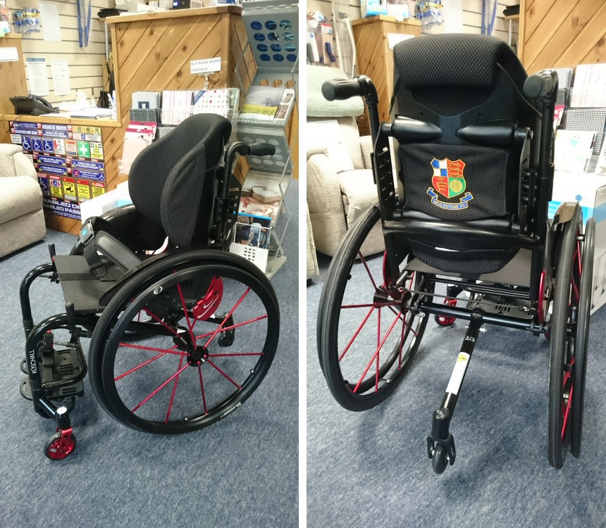 Invacare Kuschall K Series with Surge LT and Anti Tip and Wealdstone FC Personalisation